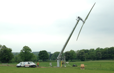 Gaia Wind's Self Raising Tower in action