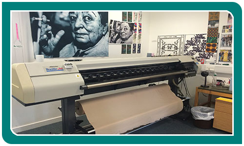 Digital Textile Printer in room with artwork