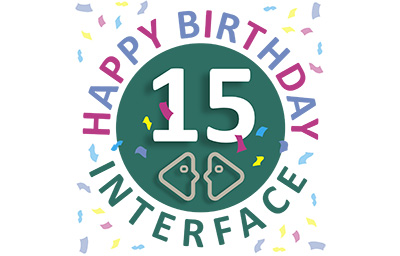Birthday badge with 15 in the middle, confetti and text saying hapy birthday Interface