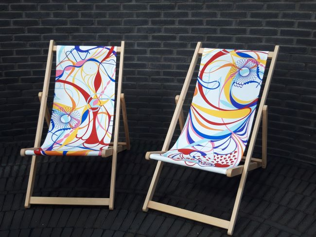 Two colourful deckchairs