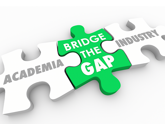 Image of jigsaw pieces with writing saying Bridge the gap