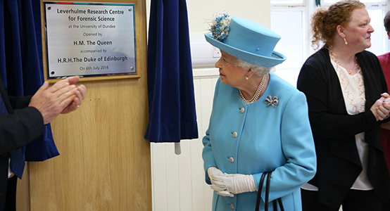 Her Majesty at the Leverhulme Research Centre for Forensic Science at the University of Dundee