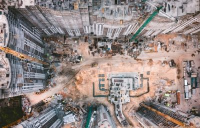 Birds eye view of a construction site
