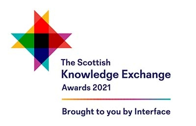 The Scottish Knowledge Exchange Awards logo with overlapping coloured triangles