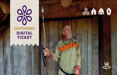 Man in costume at Whithorn Trust, Dumfriesshire