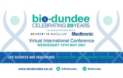 BioDundee logo in blue with DNA strands in blue